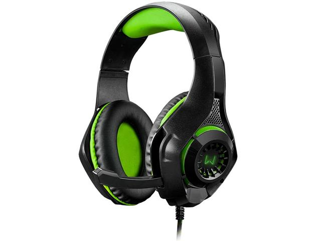 Headset Gamer Warrior Rama P3 + USB Stereo Adaptador P2 LED Verde