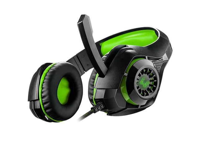 Headset Gamer Warrior Rama P3 + USB Stereo Adaptador P2 LED Verde - 2