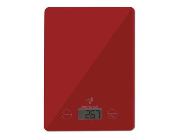 Balança Eletrônica Multilaser Vermelha Tela LCD Touch Suporta até 5Kg - 1