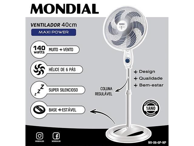 Ventilador de Coluna Mondial Maxi Power Branco e Azul 40CM - 2