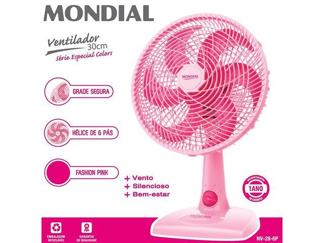 Ventilador de Mesa Mondial Fashion Pink 6 Pás 30CM - 1