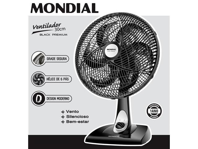 Ventilador de Mesa Mondial Premium Preto 6 Pás 30CM - 3