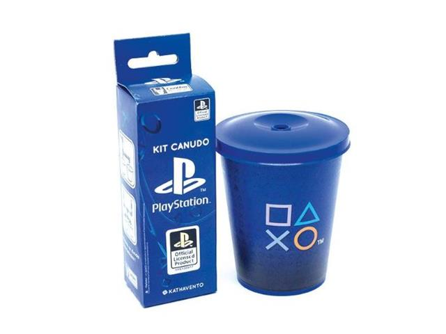 Copo com Kit de 14 Canudos Divertidos Kathavento Playstation 350ML
