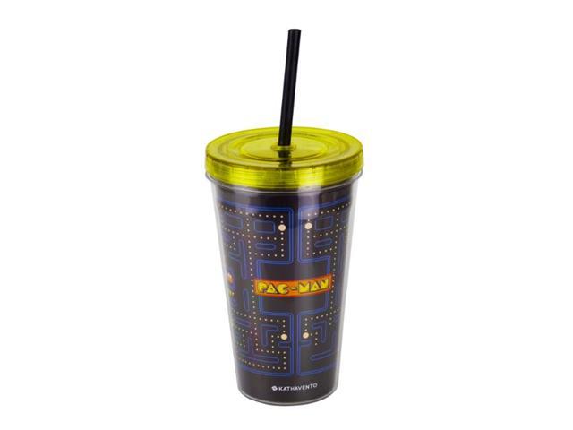 Copo com Canudo Kathavento Pac-Man 470ML