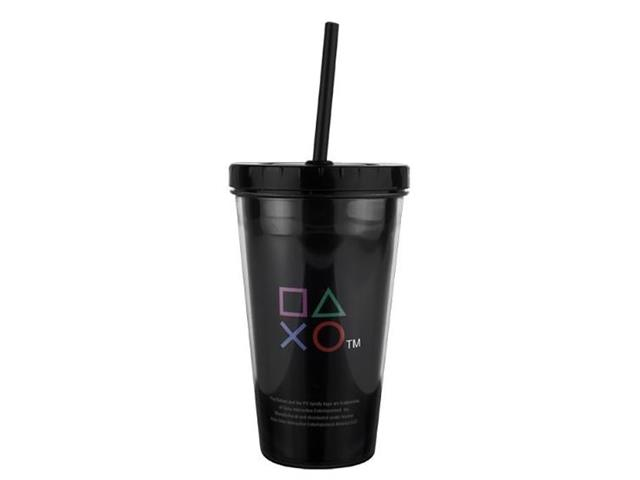 Copo com Canudo Kathavento Preto Playstation 500ML - 1