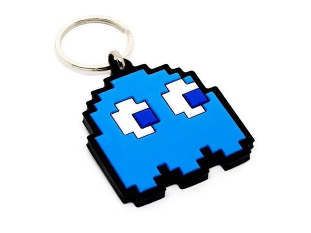 Kit Chaveiros Emborrachados Kathavento Pac Man Fantasma Azul 5 Unid