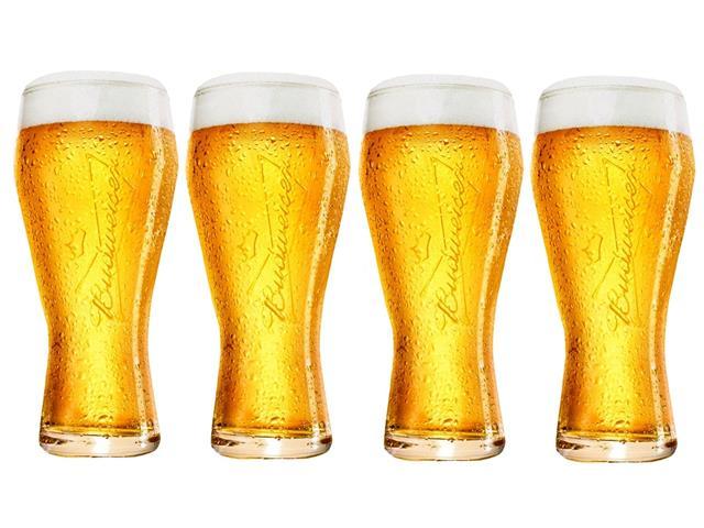 Jogo de Copos de Vidro para Cerveja Budweiser 4 Unidades de 400ML