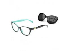 Armação Óculos de Grau Colcci Bandy 2 Preto Azul Claro + Clip Solar