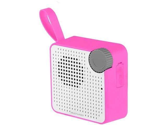Caixa de Som Bluetooth Multilaser Speaker Resistente à Água Rosa 5W - 1