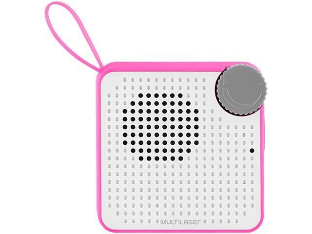 Caixa de Som Bluetooth Multilaser Speaker Resistente à Água Rosa 5W - 3