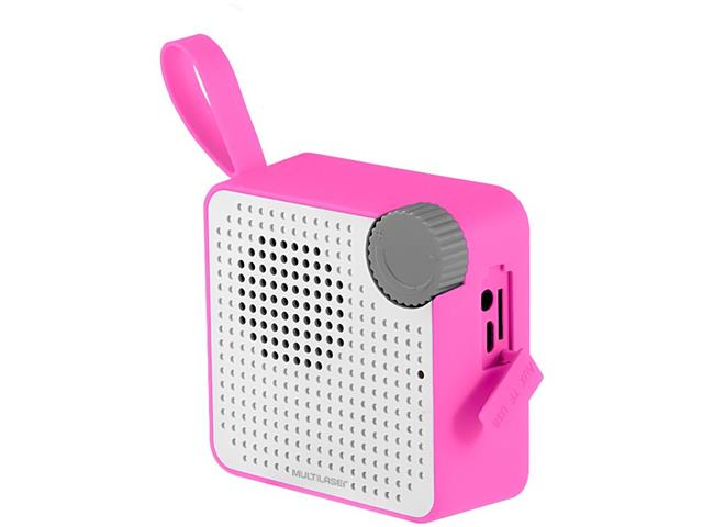 Caixa de Som Bluetooth Multilaser Speaker Resistente à Água Rosa 5W - 2