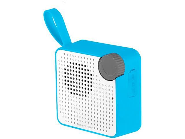 Caixa de Som Bluetooth Multilaser Speaker Resistente à Água Azul 5W - 1