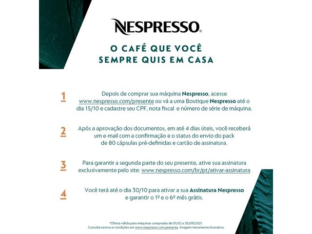 Cafeteira Nespresso Automática Pixie D61 Kit Boas Vindas Alumínio 220V - 1