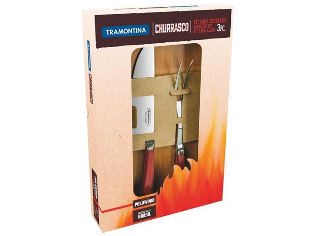 Kit para Churrasco Tramontina Polywood com Cabo Vermelho 3 Peças - 1