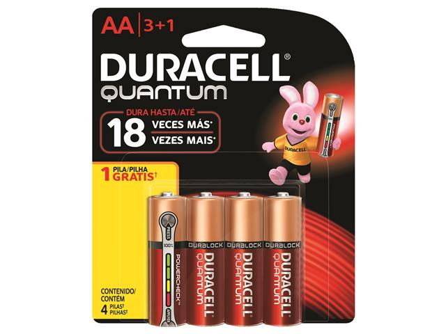 Pilha Alcalina AA Pequena Duracell Quantum Leve 4 Pague 3 Unidades