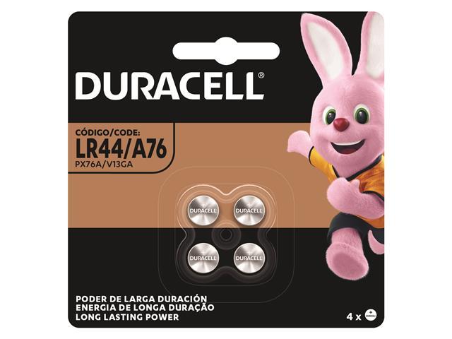 Bateria Alcalina LR44 / A76 Duracell com 4 Unidades
