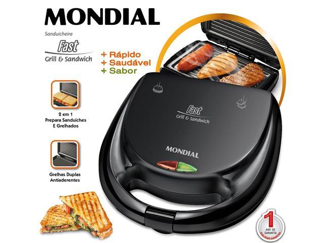 Sanduicheira Mondial S-12 Fast Grill e Sandwich 750W 110V - 2