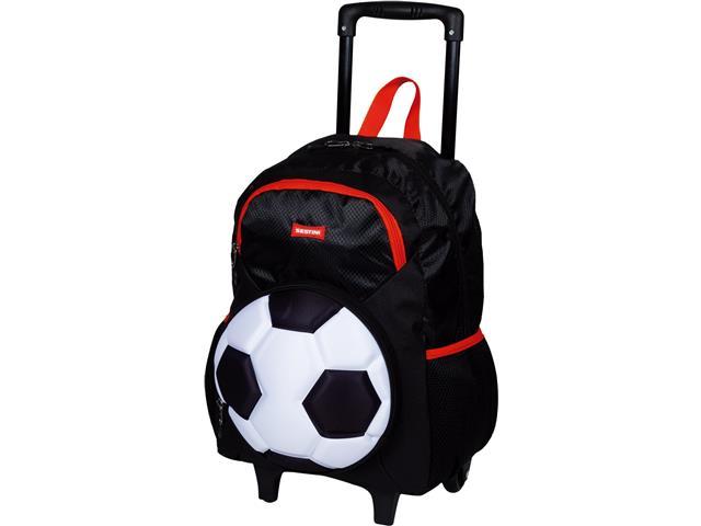 Mochila Infantil Sestini Futebol com Rodinhas Tam G Preto e Branco - 1