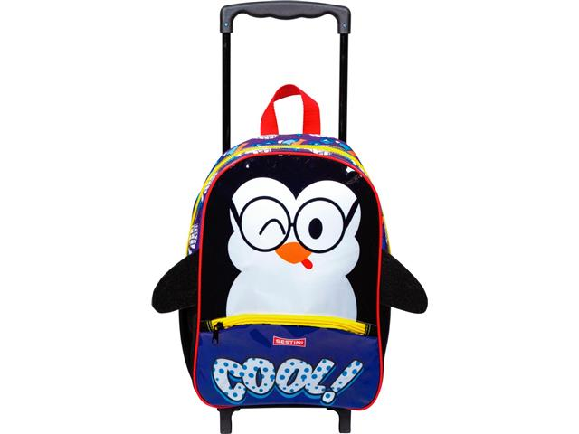 Mochila Infantil Sestini Kids Basic com Rodinhas Tam M Pinguim - 1