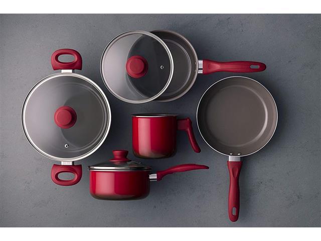 Jogo de Panela Brinox Antiaderente Ceramic Life Smart Vermelho 5 Peças - 5