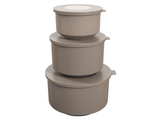 Conjunto de Potes Coza Hoop 500ml, 1L, 2L Warm Gray 3 Peças