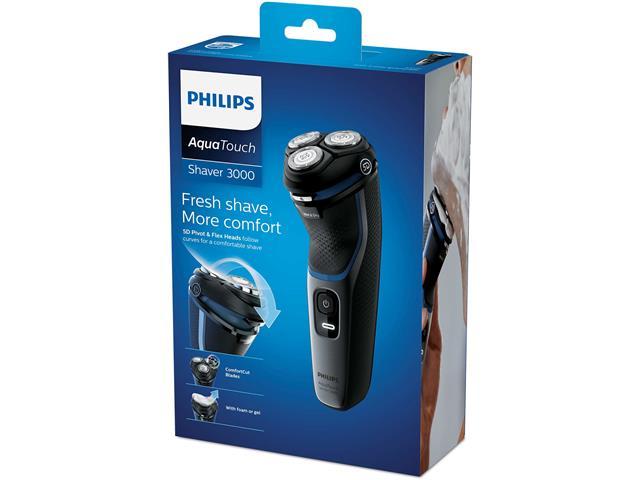 Barbeador Elétrico Philips Shaver 1100 Seco e Preto Brilhante - 4