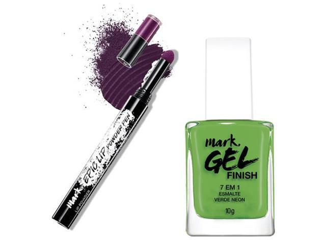 Combo Avon Mark. Batom em Pó Uva Matte e Esmalte Gel Finish Verde Neon