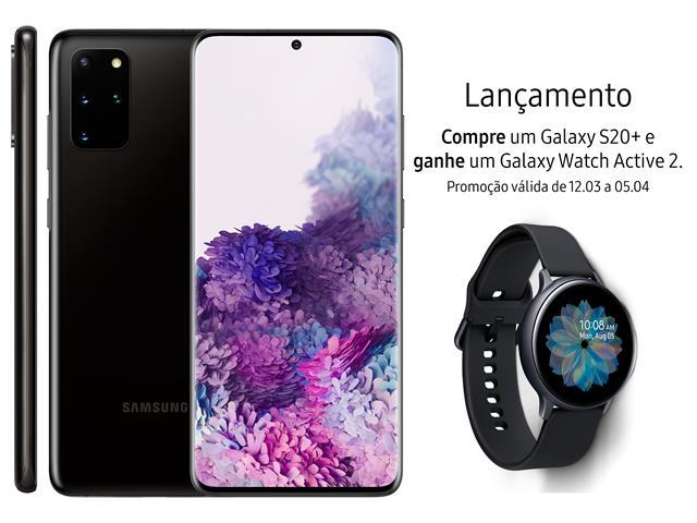 "Smartphone Samsung Galaxy S20+ 128GB 6.7"" 8GB RAM 64+12+12MP+ToF Preto"
