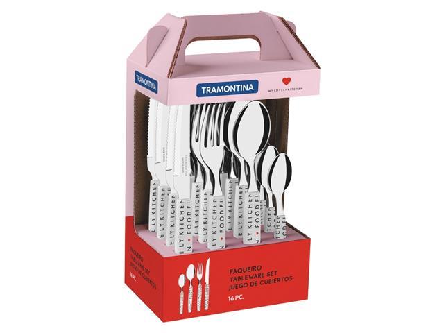 Faqueiro Tramontina My Lovely Kitchen em Aço Inox 16 Peças Branco - 1