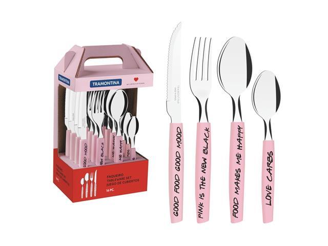 Faqueiro Tramontina My Lovely Kitchen em Aço Inox 16 Peças Rosa