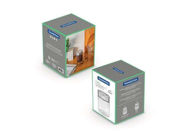 Pote de Vidro Tramontina Purezza com Tampa de Aço Inox 10 cm 700ML - 4