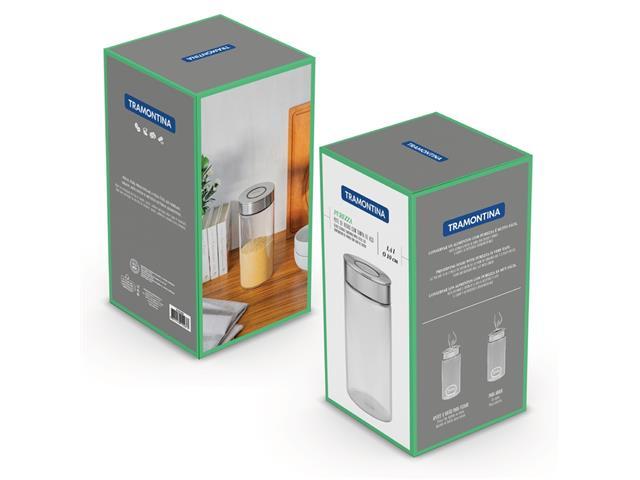 Pote de Vidro Tramontina Purezza com Tampa de Aço Inox 10cm 1,4 Litros - 5