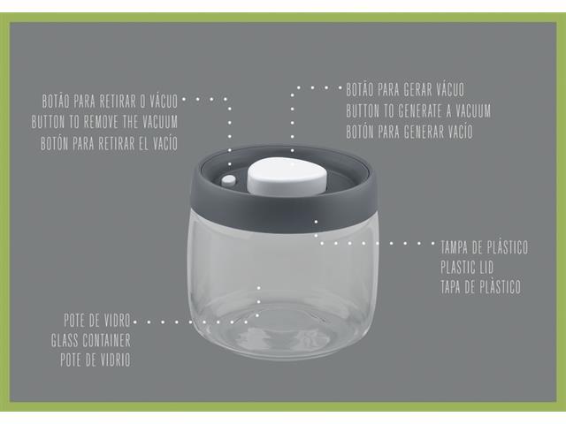 Jogo de Potes de Vidro Tramontina Purezza Tampa Plástica 3 Peças - 6
