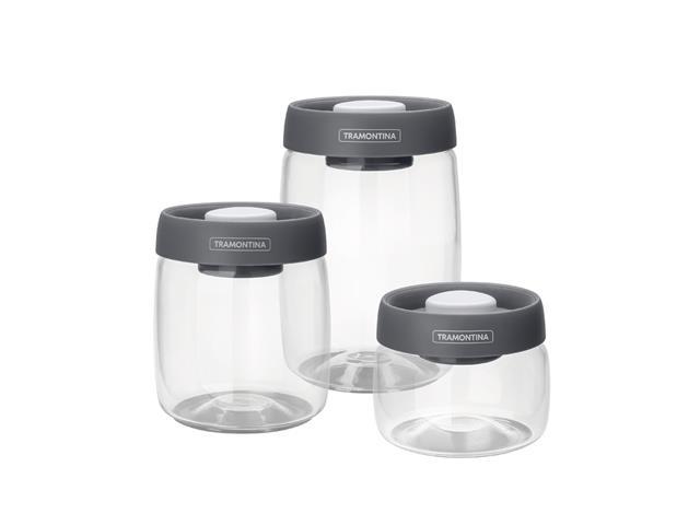 Jogo de Potes de Vidro Tramontina Purezza Tampa Plástica 3 Peças