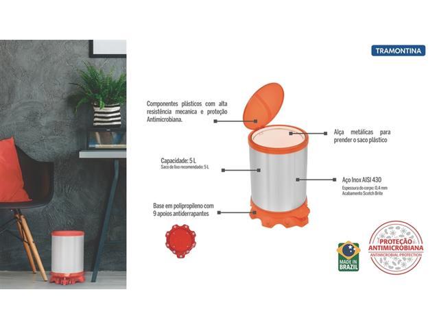 Lixeira Inox Tramontina Sofie Orange com Pedal 5 Litros - 4