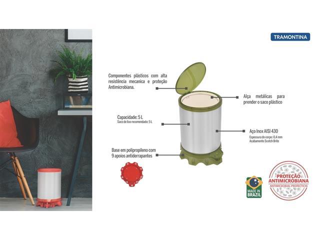Lixeira Inox Tramontina Sofie Green com Pedal 5 Litros - 4