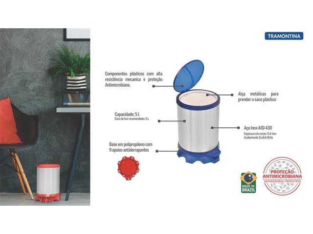 Lixeira Inox Tramontina Sofie Blue com Pedal 5 Litros - 4