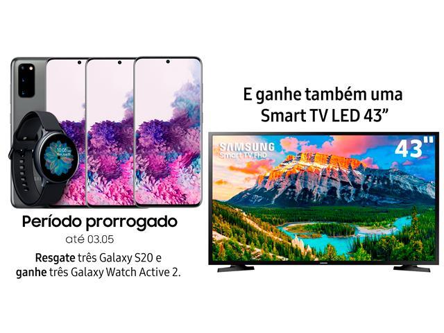 """Resgate no Lançamento 3 Samsung Galaxy S20 Cinza e GANHE + 1 TV 43"""""""