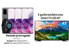 """Resgate no Lançamento 3 Samsung Galaxy S20+ Cinza e GANHE + 1 TV 43"""""""