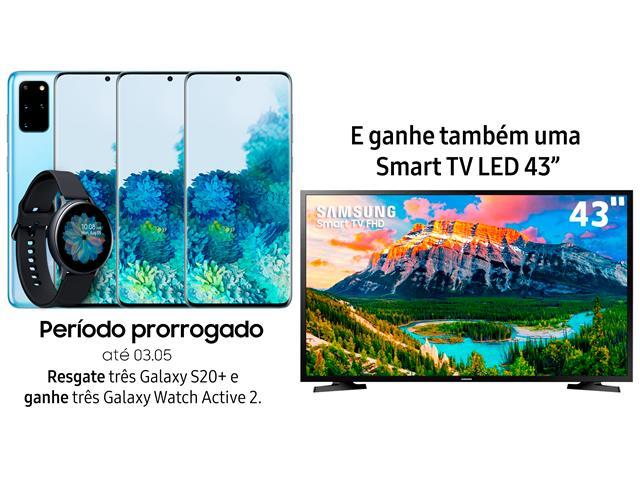 """Resgate no Lançamento 3 Samsung Galaxy S20+ Azul e GANHE + 1 TV 43"""""""
