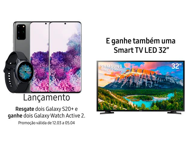 """Resgate no Lançamento 2 Samsung Galaxy S20+ Cinza e GANHE + 1 TV 32"""""""