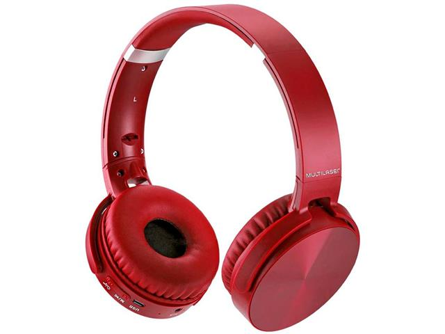Headphone Bluetooth Multilaser Premium Sd/Aux/Fm Vermelho