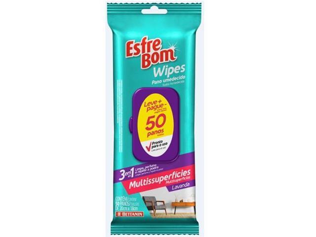 Pano Umedecido Multissuperfícies Bettanin EsfreBom Wipes 50 Panos