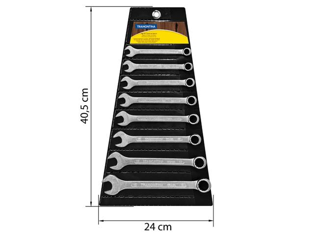 Jogo de Chaves Combinadas Tramontina Basic Corpo Aço Cromado  8 Peças - 1