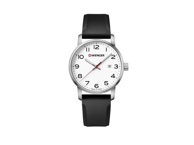Relógio Wenger Avenue Prateado Pulseira de Silicone Preta