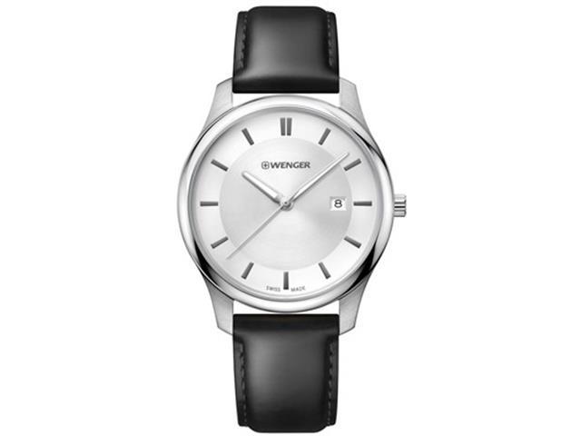 Relógio Wenger City Classic Branco Prateado Pulseira em Couro Preto