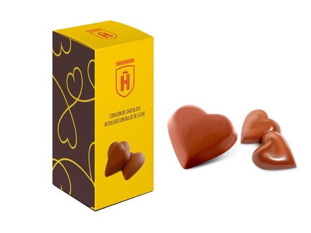 Bombons Havanna Corações de Chocolate e Recheado com Doce de Leite