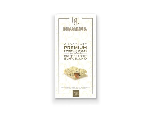 Barra de Chocolate Branco Havanna com Cookie Recheio Doce de Leite 90g
