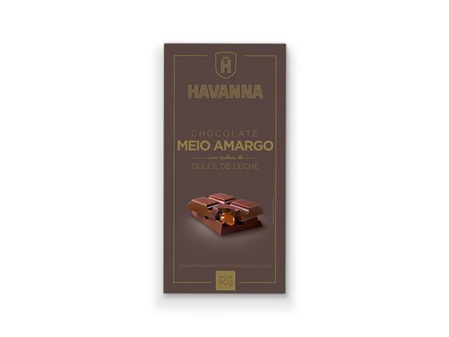 Barra de Chocolate Meio Amargo Havanna com Recheio Doce de Leite 90g