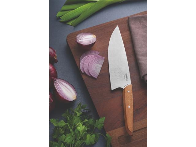 """Faca Chef Tramontina Verttice Aço Inox e Cabo de Madeira Natural 8"""" - 1"""